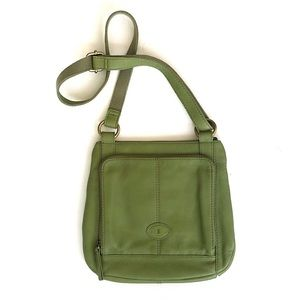 NWOT Fossil Green Leather Crossbody Bag Purse